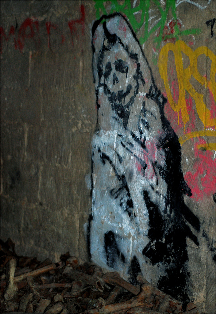 Śmierć namalowana na ścianie w okolicy skrzyżowania zmarłych