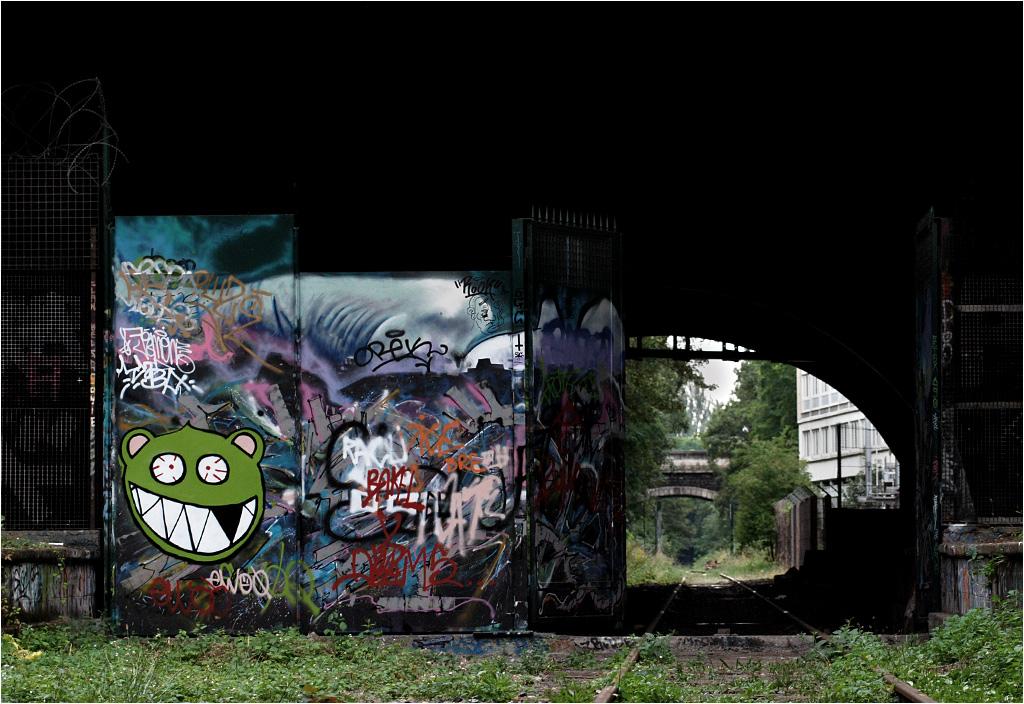 Graffiti na jednej z przegradzających linię bram