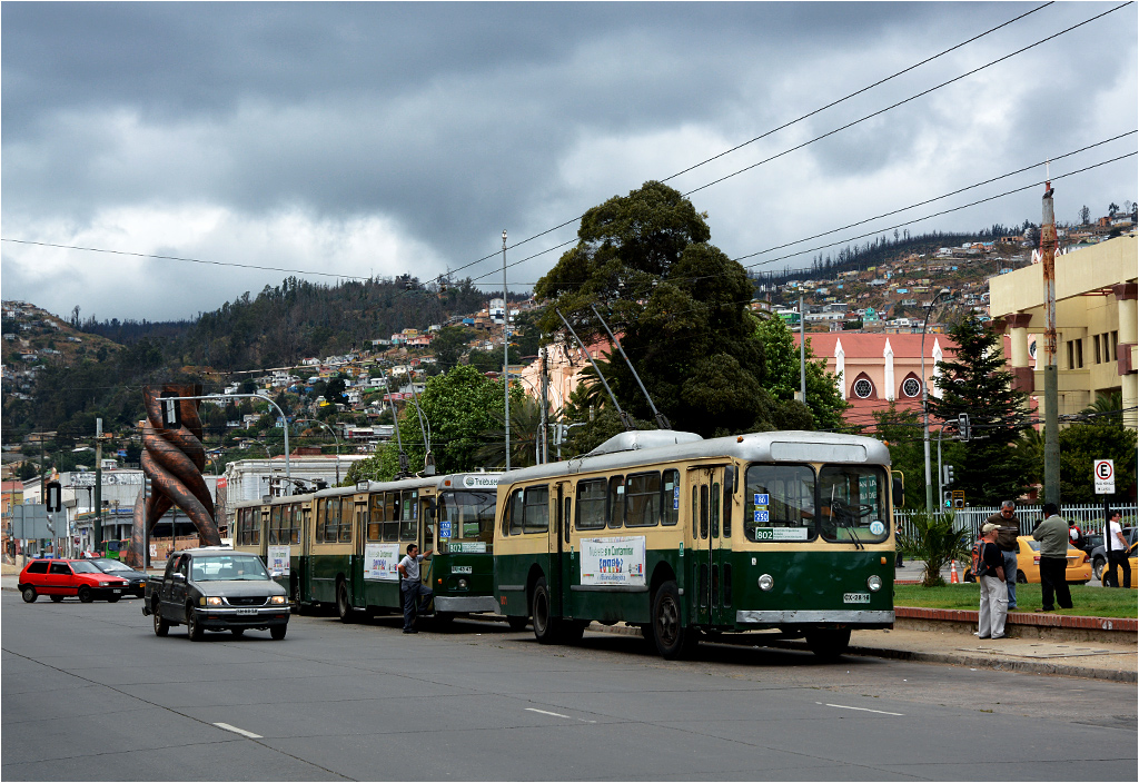 Rząd trolejbusów odpoczywających przed pętlą Barón