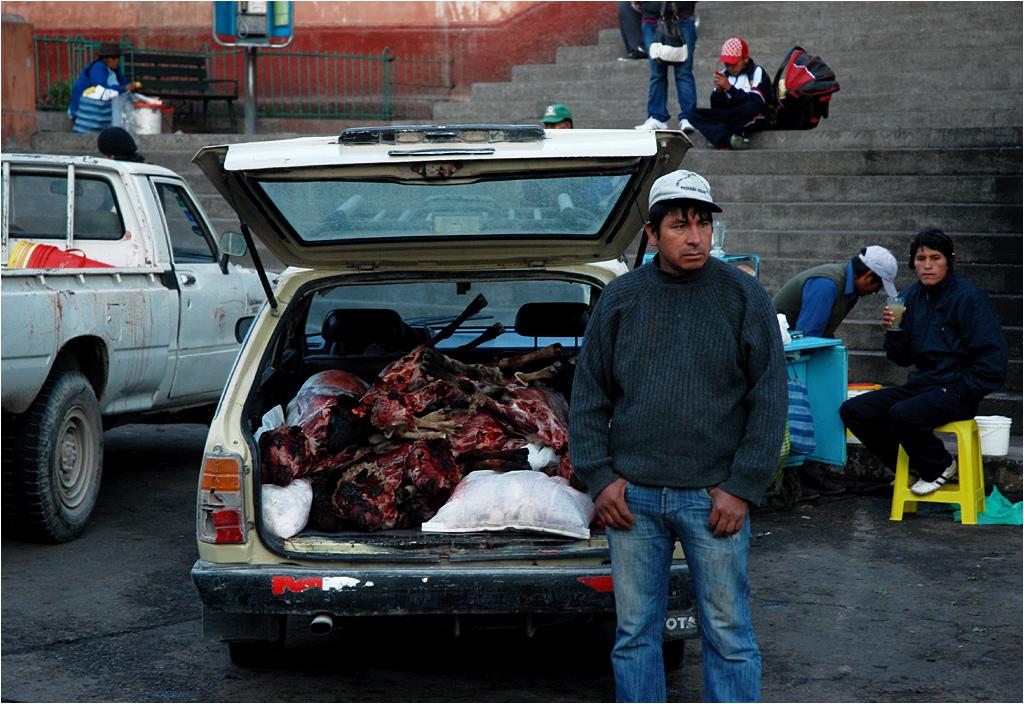 Ayacucho, Peru. O godzinie szóstej nad ranem w bagażniku samochodu osobowego przyjechały świeżo ubite cielęta. Jeszcze z kopytami