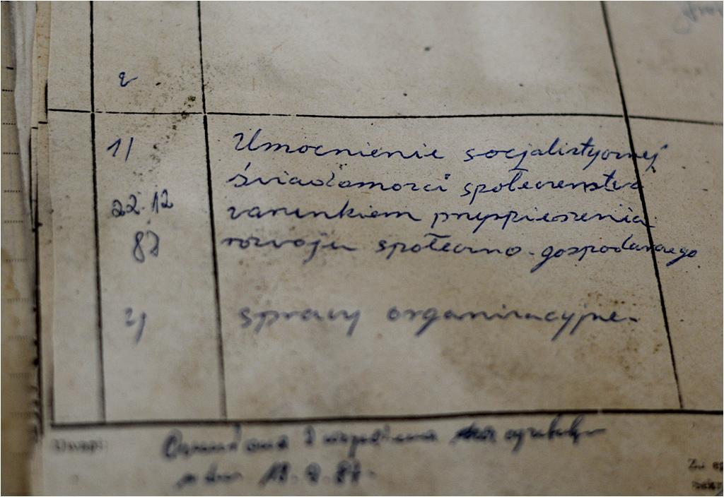 Zapisy z zeszytu spotkań Podstawowej Organizacji Partyjnej