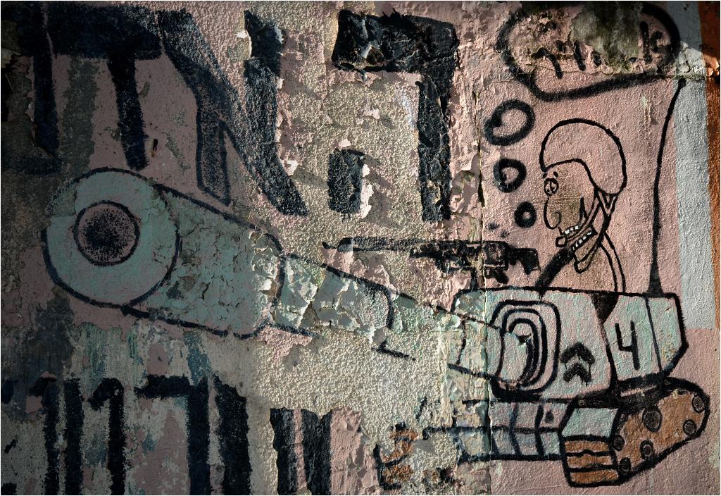 Graffiti na jednym z opuszczonych wojskowych budynków na Wzgórzach Golan. Ciężko niestety rozczytać, co myśli żołnierz