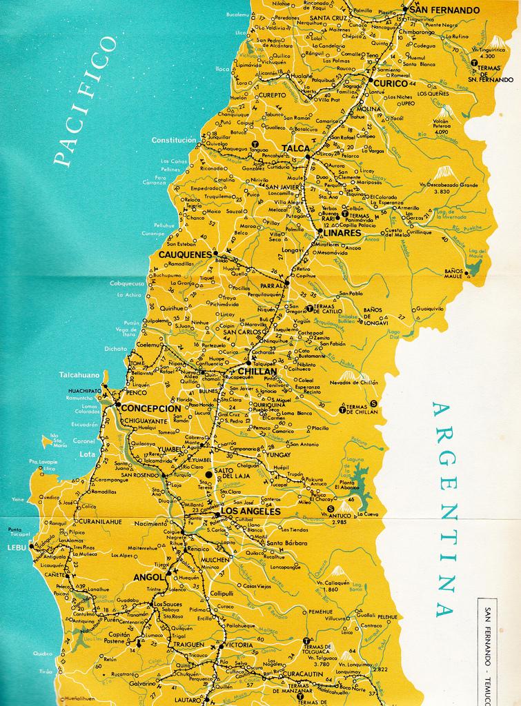Fragment mapy kolejowej Chile z 1967 roku - widoczny odcinek z Talki do Constitución. Źródło: https://www.flickr.com/photos/jotape1960/ - tam też mapy z pozostałych części kraju