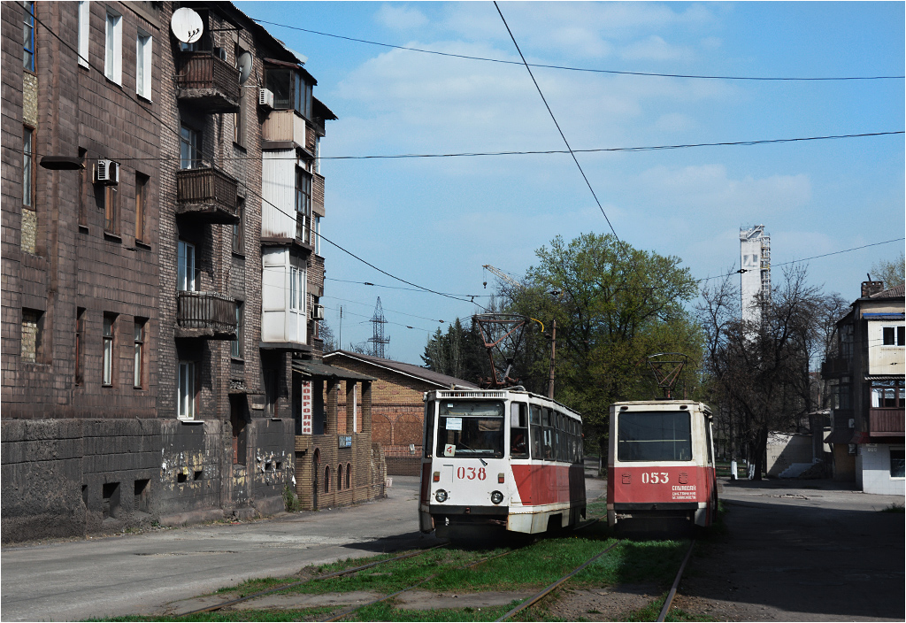 Tramwaje w centrum Jenakijewa (Doniecka Republika Ludowa), 2016 rok