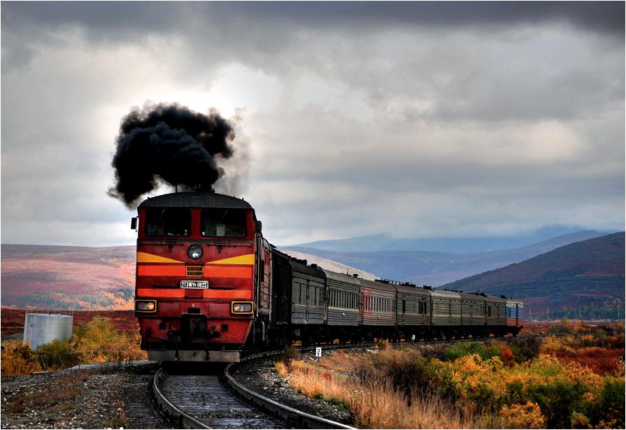 07.09.2011, 110 km linii Czum - Łabytnangi. Pociąg towarowo-osobowy relacji Łabytnangi - Workuta rusza z przystanku położonego pośrodku niczego.