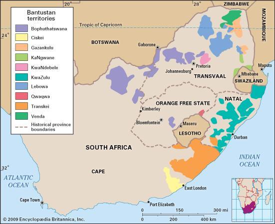Rzeczywista mapa polityczna Południowej Afryki lat 80tych (z uwzględnieniem bantustanów)