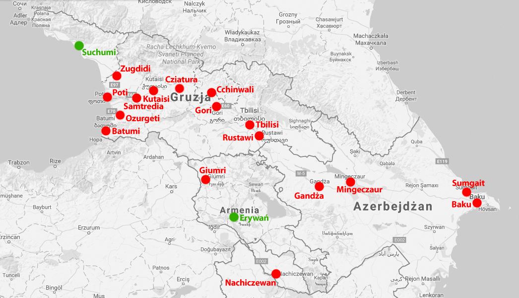 Mapa sieci trolejbusowych i tramwajowych na Kaukazie. Na czerwono zaznaczone zlikwidowane systemy. Na zielono - jeszcze cudem istniejące