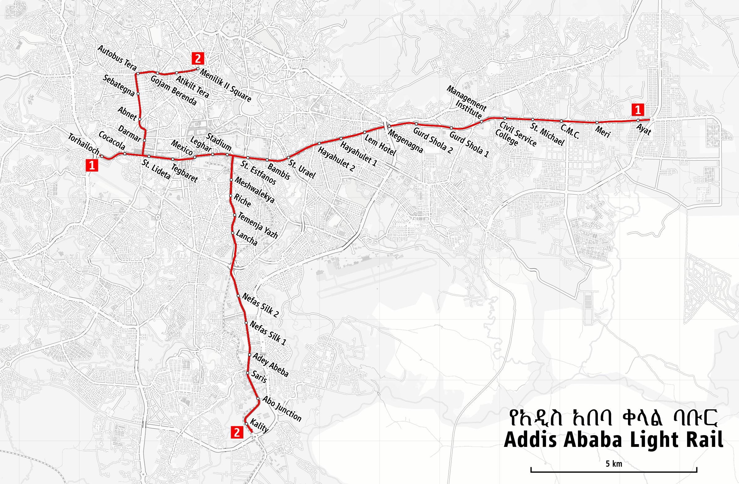 Schemat sieci tramwaju w Addis Abebie. Autor: Maximilian Dörrbecker (Chumwa), źródło: Wikimedia