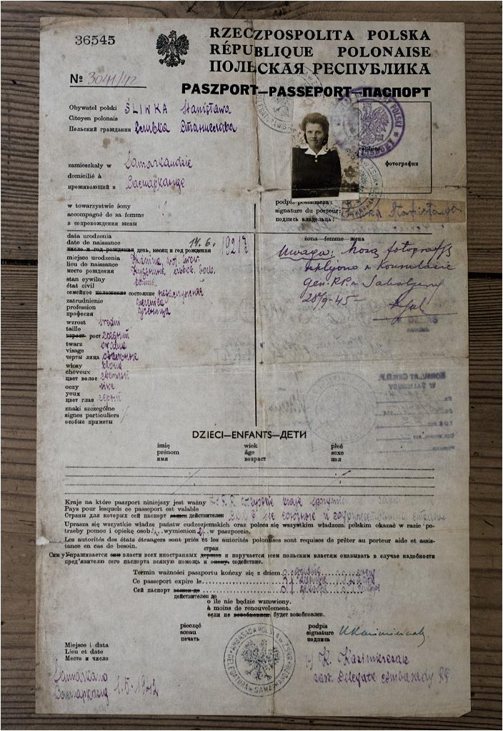 Paszport Stanisławy Śliwki wydany w Samarkandzie (Uzbekistan)