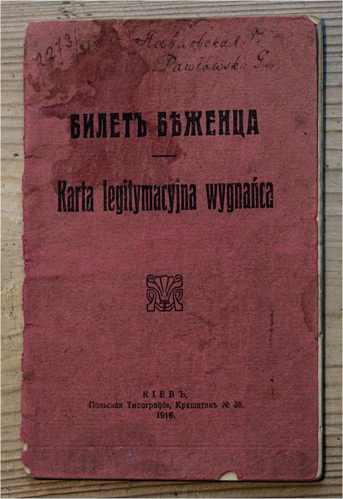 Karta legitymacyjna wygnańca wydana w Kijowie w 1916 roku
