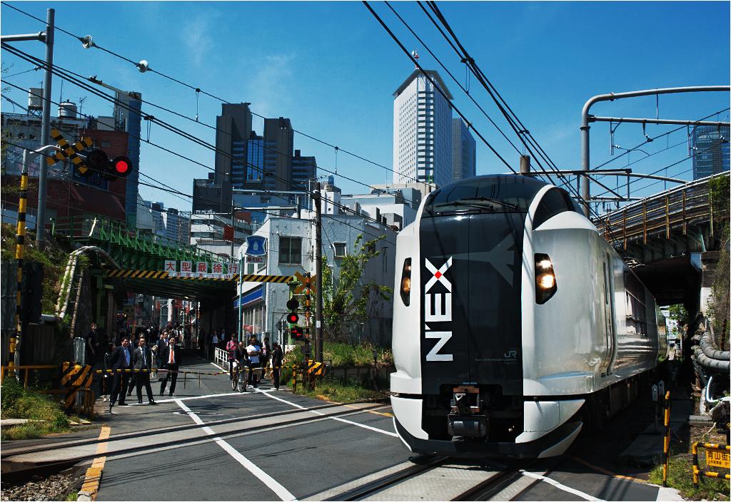 Yoyogi, Tokio. Typowy obrazek ze stolicy Japonii - ciasno, czysto i wszędzie pełno kolei (w kadrze widoczne jeszcze dwie inne linie). Widoczny pociąg to Narita Express, łączący różne tokijskie stacje z międzynarodowym lotniskiem Narita