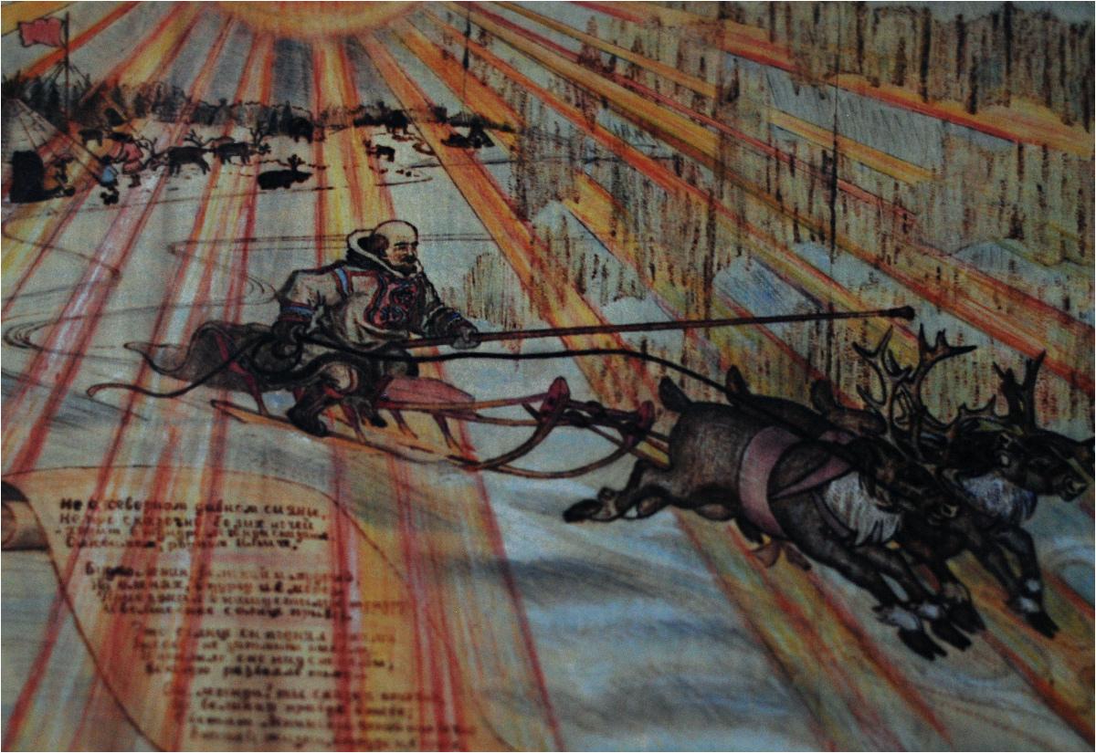 Lenin na saniach ciągniętych przez renifery przypomina trochę Świętego Mikołaja