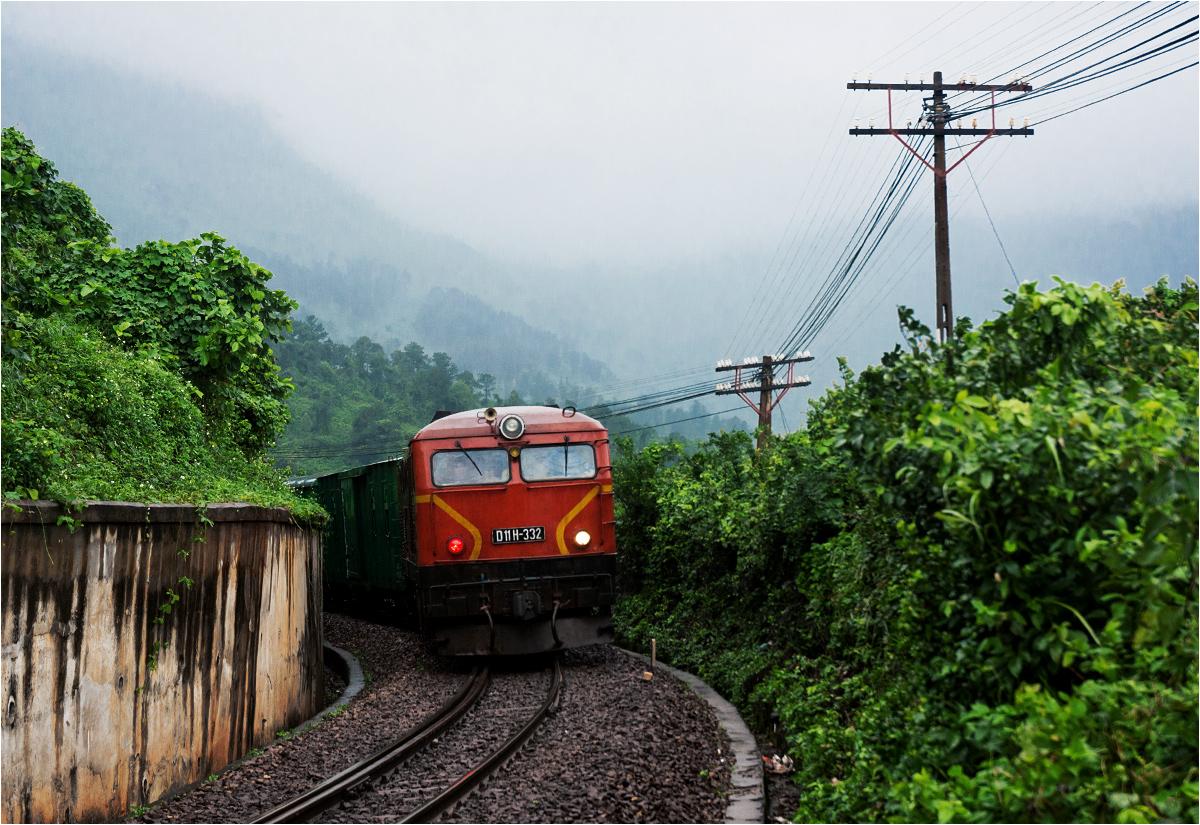 """Podczas spaceru torami przez dżunglę zostałem zaskoczony przez pociąg towarowy z lokomotywą D11H produkcji rumuńskiej na czele (maszyna ta nazywana jest w Wietnamie """"Rumani"""")"""