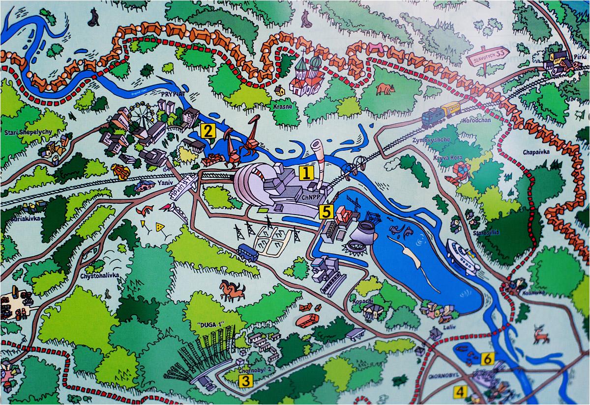 Pamiątkowa mapa przypomina raczej plan parku rozrywki, niż miejsca jednej z największych katastrof współczesności