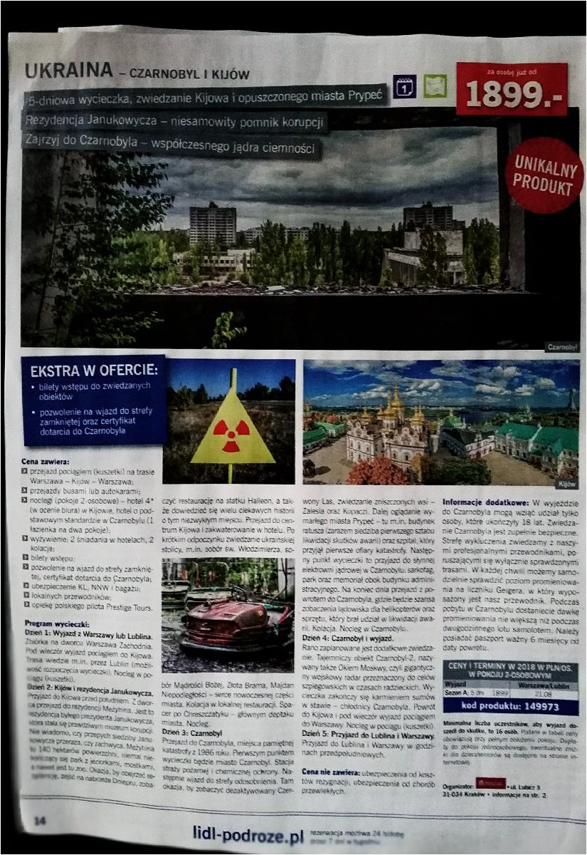 Wycieczka do Czarnobyla w gazetce Lidla. Gwarantowany nawet certyfikat dotarcia na miejsce!