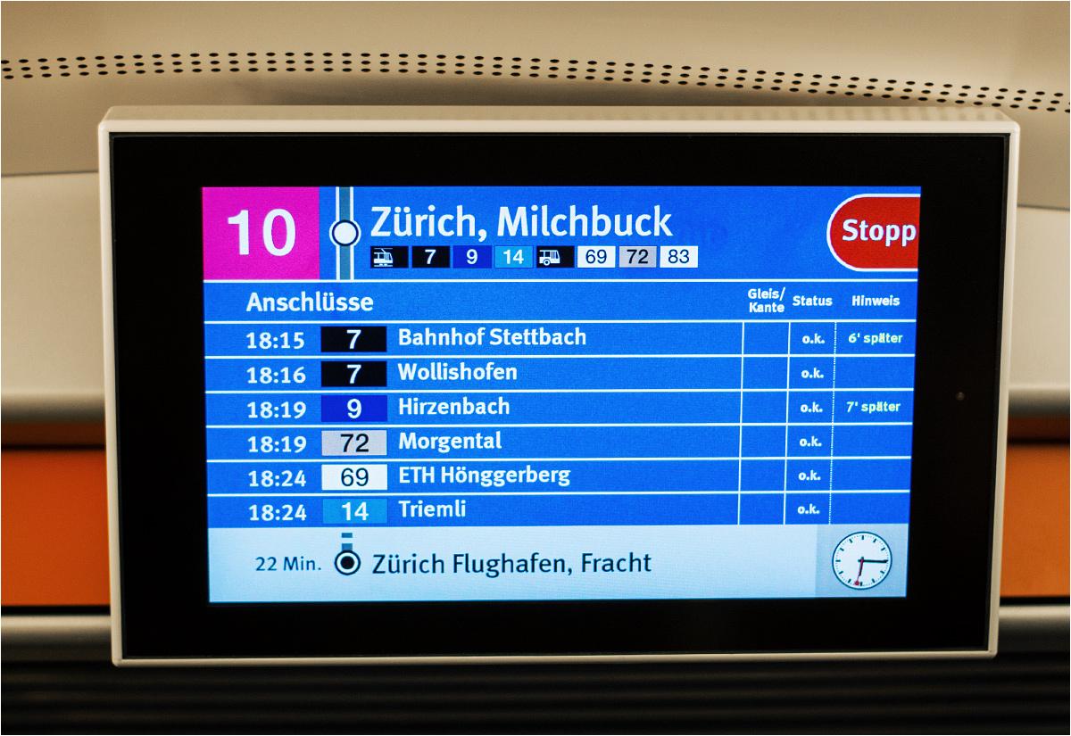 Wyświetlacze dostępne w tramwajach informują nie tylko o następnych przystankach, ale także o możliwych na nich przesiadkach, wraz z podanym czasem opóźnień tramwajów. Te nie zdarzają się zbyt często – akurat tego dnia z powodu wypadku część linii zmieniła swoje trasy
