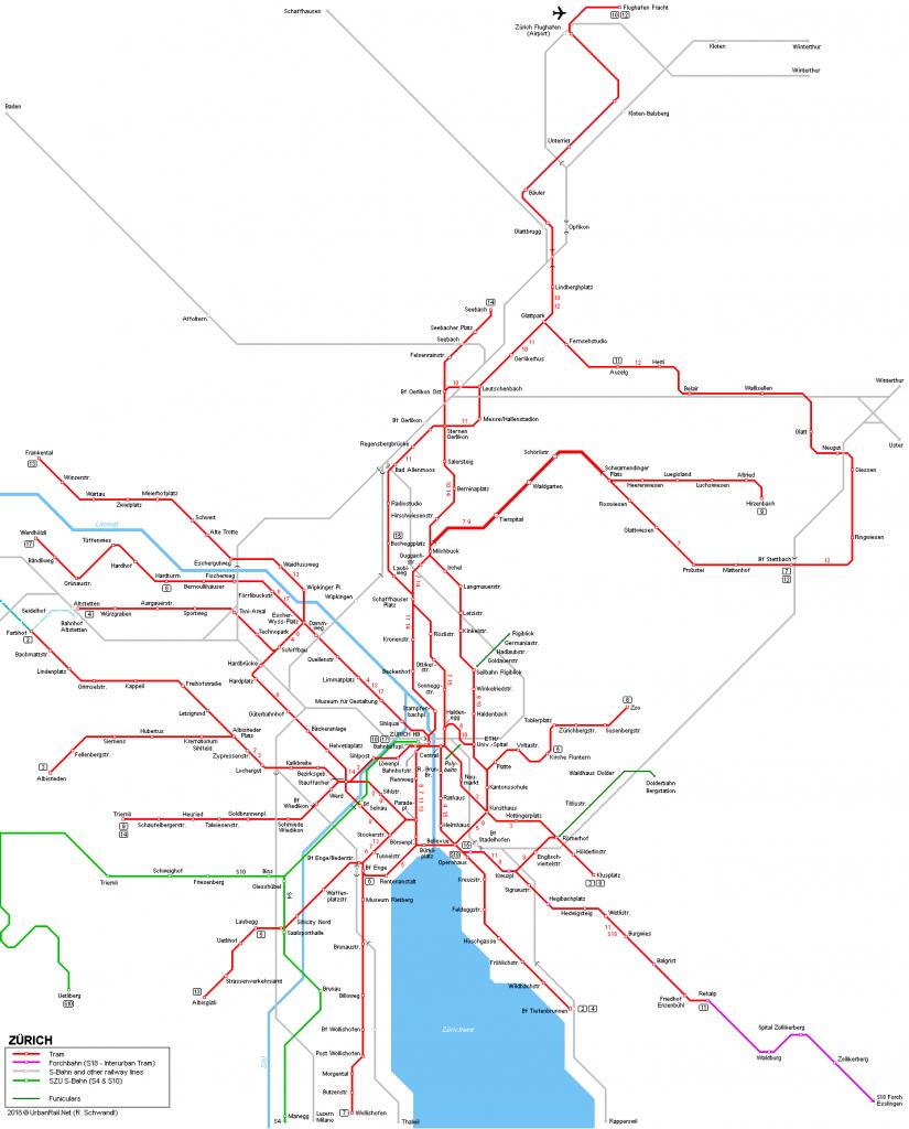 Mapa sieci tramwajowej w Zurychu. Źródło: urbanrail.net