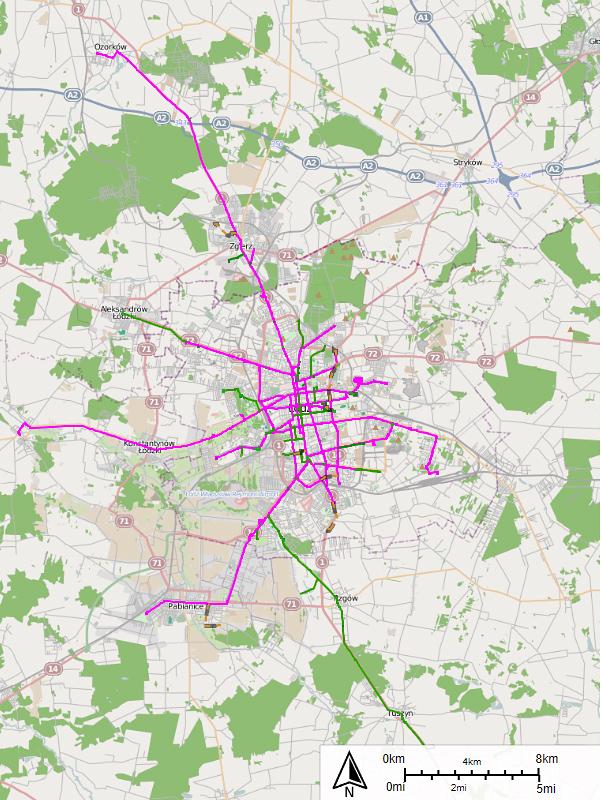 """Mapa łódzkich tramwajów miejskich oraz podmiejskich. Autor: Piksel169. Wersja interaktywna: <a href=""""http://sharemap.org/piksel169/Trams_in_%C5%81%C3%B3d%C5%BA#!webgl"""" target=""""_blank"""" rel=""""noopener noreferrer"""">http://sharemap.org/piksel169/Trams_in_%C5%81%C3%B3d%C5%BA</a>"""