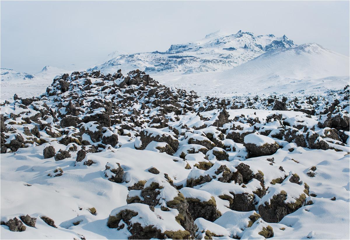 Zastygła lawa pokrywa spore połacie terenu wokół Stykkishólmur