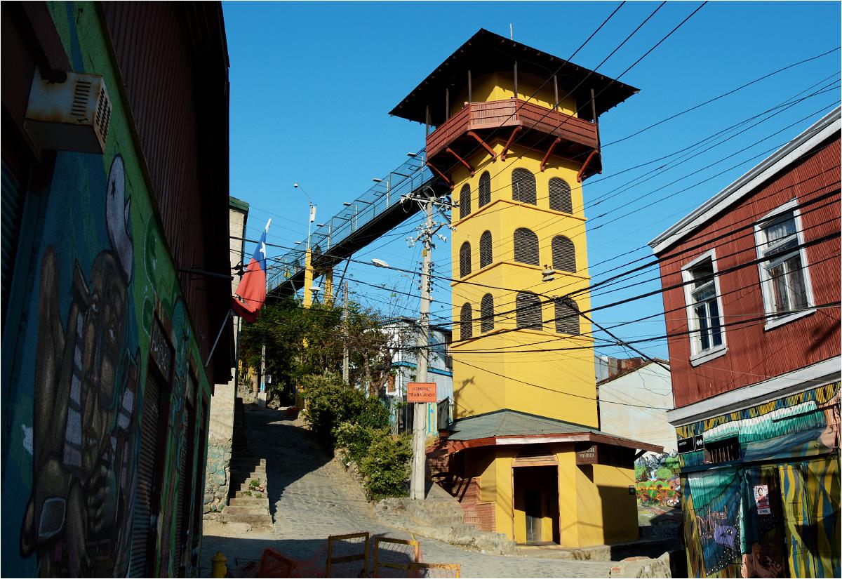 """W obu wspomnianych miastach, prócz funikularów, działają także bardziej dosłowne """"miejskie windy"""", kursujące pionowo w osobno postawionym szybie. W Lizbonie jest to Elevador de Santa Justa, a w Valparaíso - widoczny na zdjęciu ascensor Polanco. Winda ma trzy przystanki, z których środkowy jest zlokalizowany na poziomie chodnika, do górnego trzeba dojść przewieszonym w powietrzu mostkiem, a do dolnego prowadzi tunel"""