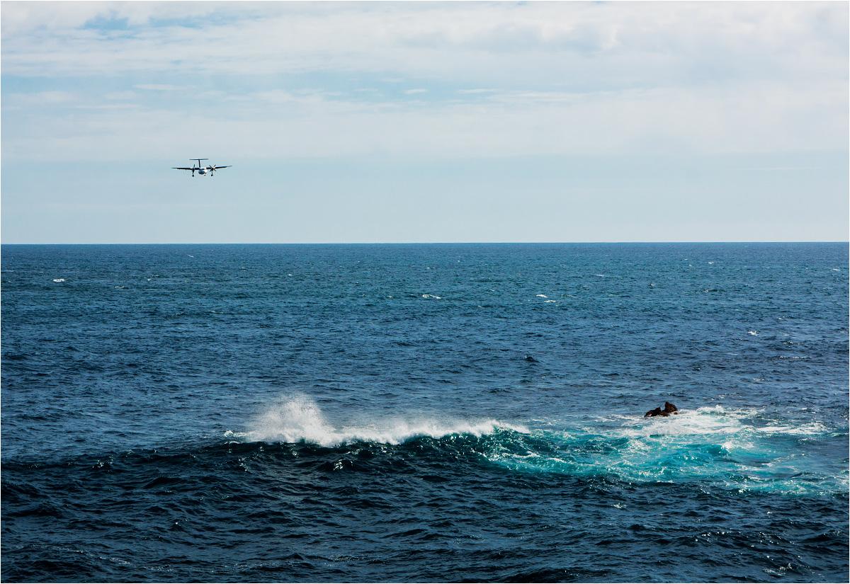 Lotniczy PKS zbliża się do jednej z wysp Azorów