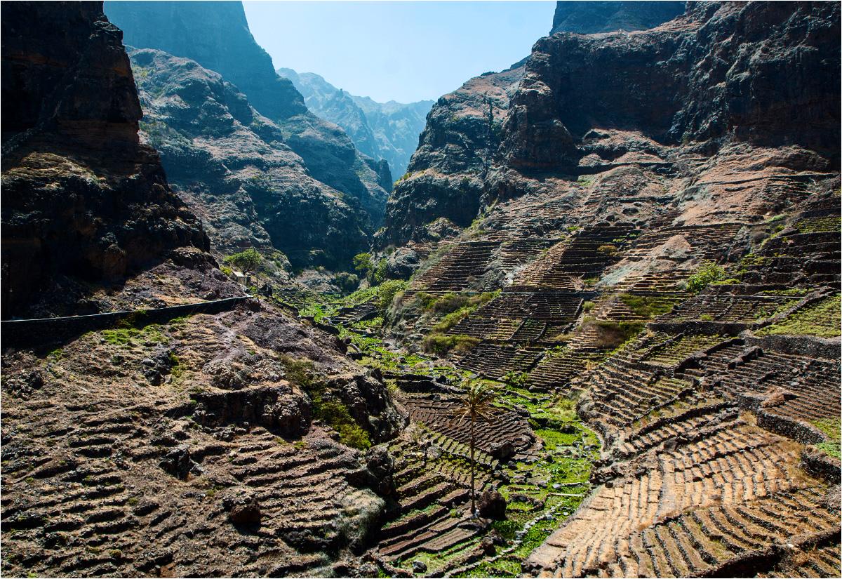 Liczne tarasy uprawne pokrywają krajobraz wyspy Santo Antão