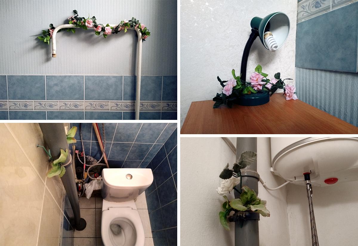 Sztuczne kwiaty upiększają przestrzeń hostelu Jarosław w Kijowie