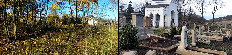 Cmentarz w Gostkowie parę lat temu i dziś - mrówcza praca Haliny i Angeliki nie idzie na marne. Fot. Fundacja Anna w Gostkowie