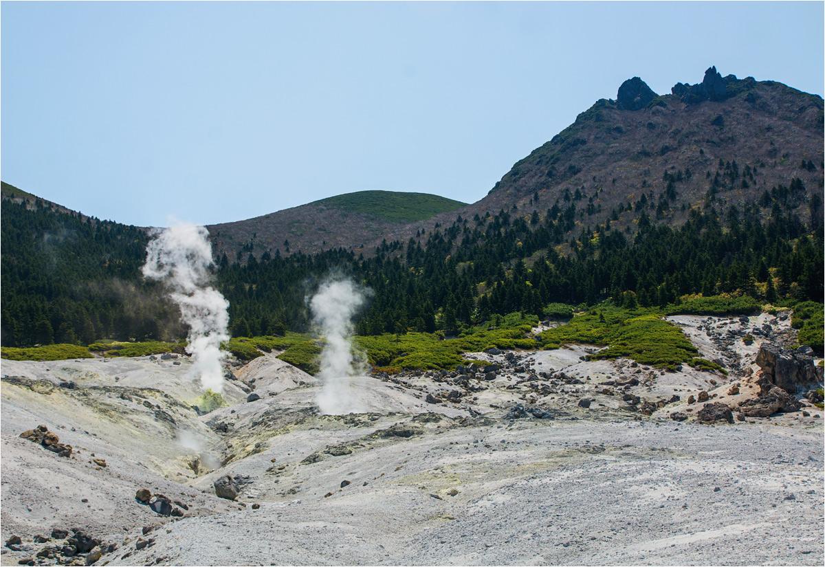 Wulkan Mendelejewa i widoczne przed nim północno-zachodnie pole fumaroli