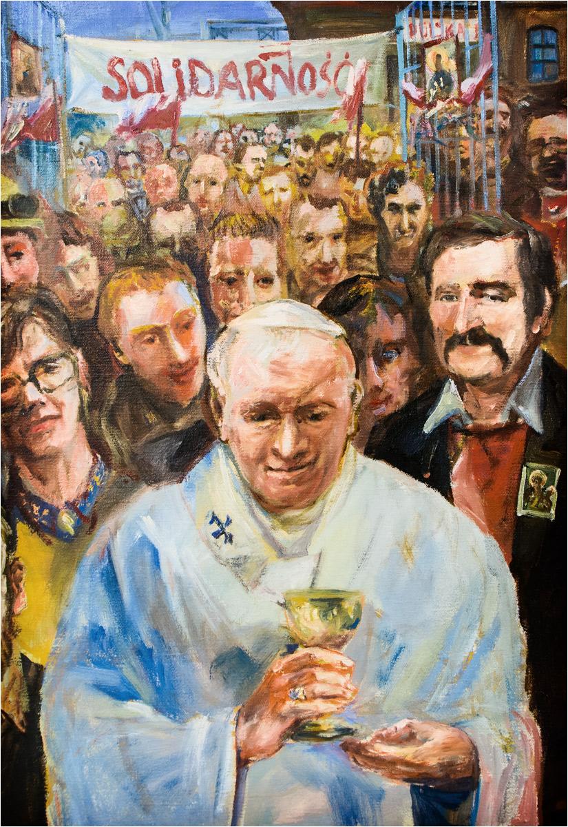 ...papież Jan Paweł II na czele marszu Solidarności (!)...