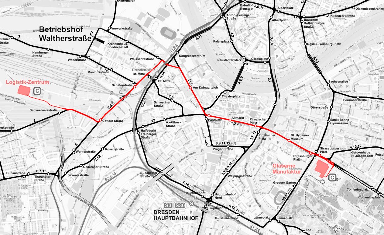 Trasa tramwaju towarowego. Mapka zrobiona na podstawie schematu autorstwa Andrejsa Krivuščenko (https://transphoto.org/photo/410868/?gid=2247)