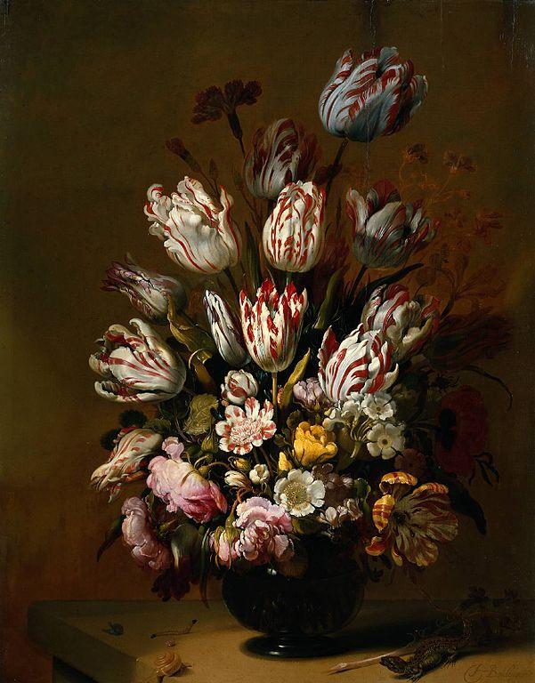 """Hans Bollongier, """"Martwa natura z kwiatami"""", 1639. Tulipany dotknięte wirusem pstrości tulipana stanowiły częste natchnienie dla malarzy z dawnych wieków"""