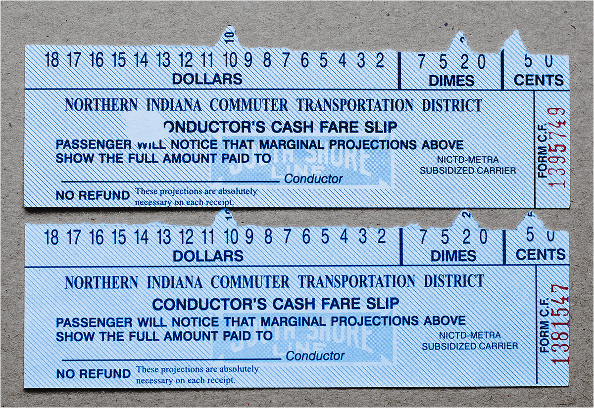 Kilkudziesięcioletni wzorzec biletów, sprzedawanych w składach South Shore Line