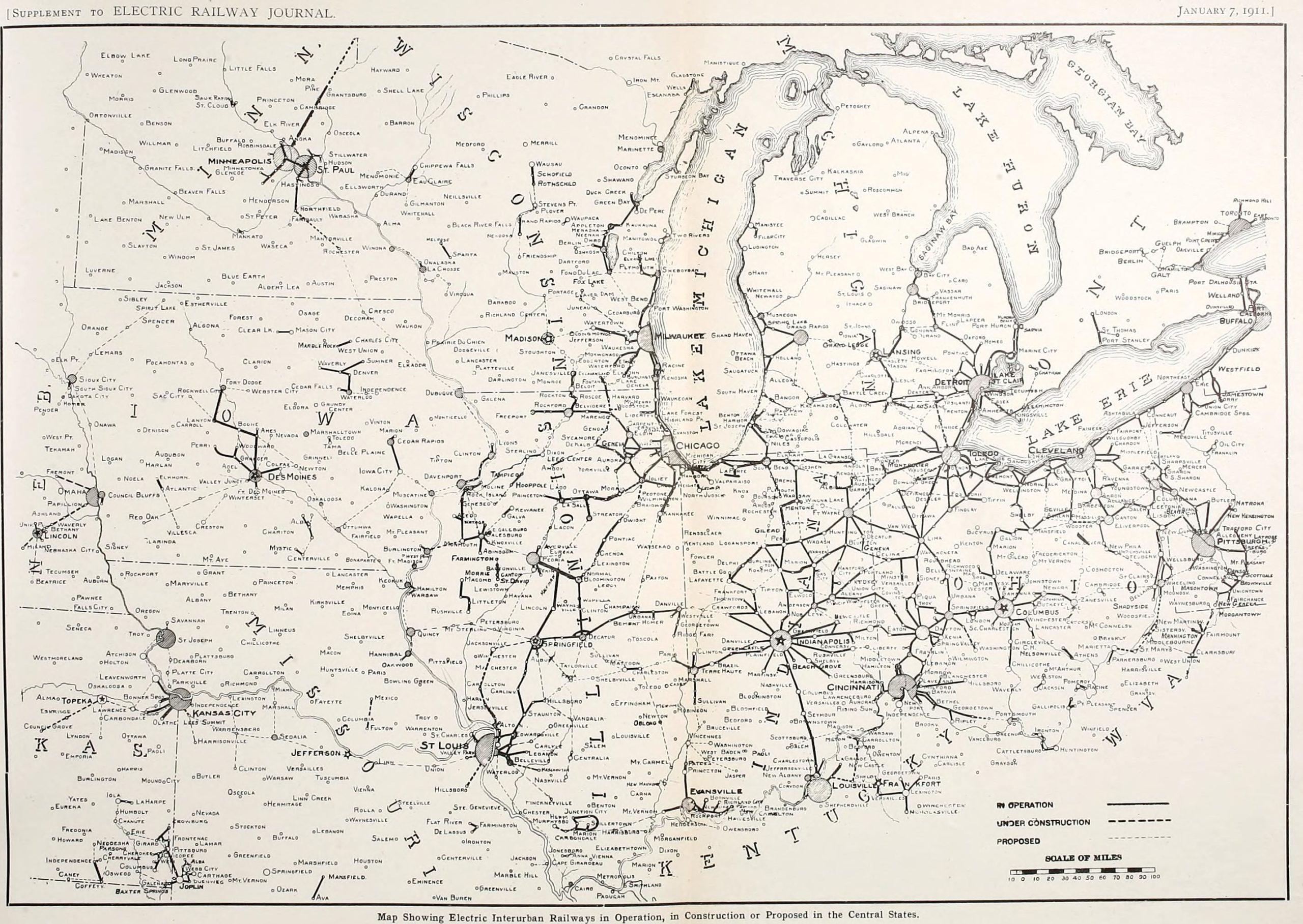 Gęsta sieć elektrycznych interurbanów w środkowych Stanach Zjednoczonych w 1911 roku. Aż trudno uwierzyć, że wiek później z tego wszystkiego pozostała raptem jedna linia