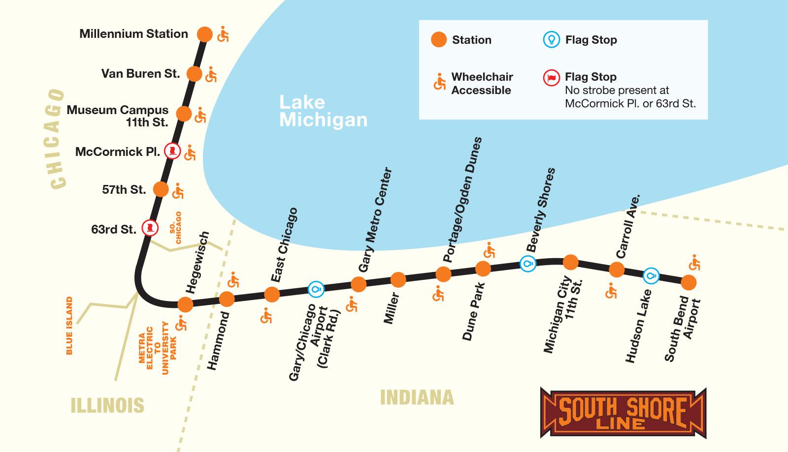 """South Shore Line - mapka linii z widocznymi """"flag stops"""""""