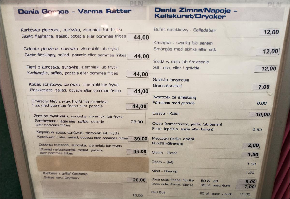 Karta w pokładowej restauracji. To polski prom (choć pod banderą Bahamów, dla oszczędności), więc i jedzenie musi być polskie: mięso, ziemniaki, surówka. Żadnego wydziwiania