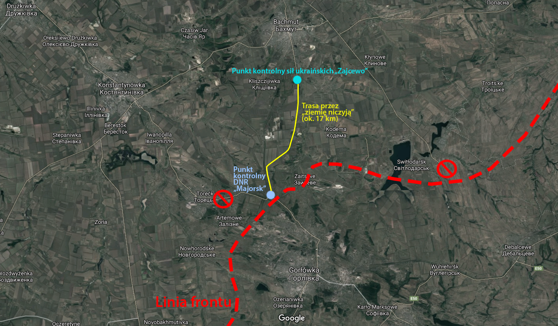 Schemat przekraczania granicy między Gorłówką i Bachmutem