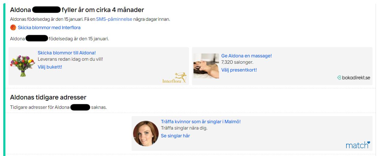"""Hitta.se umożliwia wiele płatnych opcji. Kiedy znalazłem już polską piosenkarkę, mogę zamówić SMS przypominający o jej urodzinach. Portal proponuje też wysłanie kwiatów i zamówienie urodzinowego masażu. Jeśli jednak chciałbym wybrać kogoś innego, mogę """"poznać inne samotne kobiety w Malmö"""""""